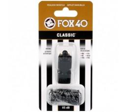 Gwizdek Sędziowski FOX40 Classic Safety Czarny + Sznurek