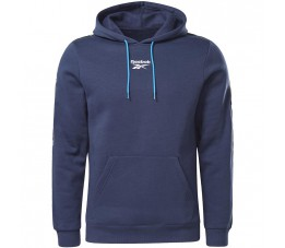 Bluza męska Reebok Training Essentials Tape Hoodie granatowa GU9960
